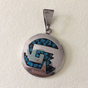 Jewelry - Mexico Sterling silver Aztec turquoise black inlay